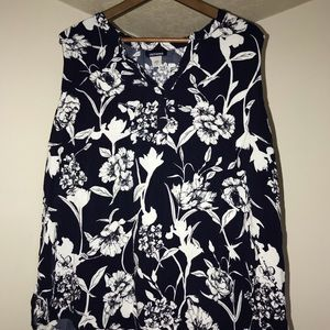 Basic Edition Sleeveless Flowered Blouse